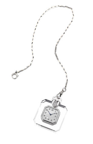 A rock crystal and diamond watch pendant