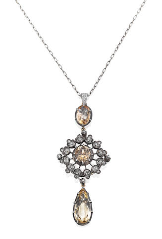 A topaz and diamond pendant
