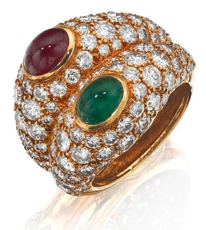 An emerald, ruby and diamond dress ring
