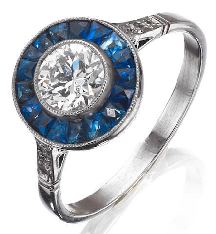 A sapphire and diamond target ring