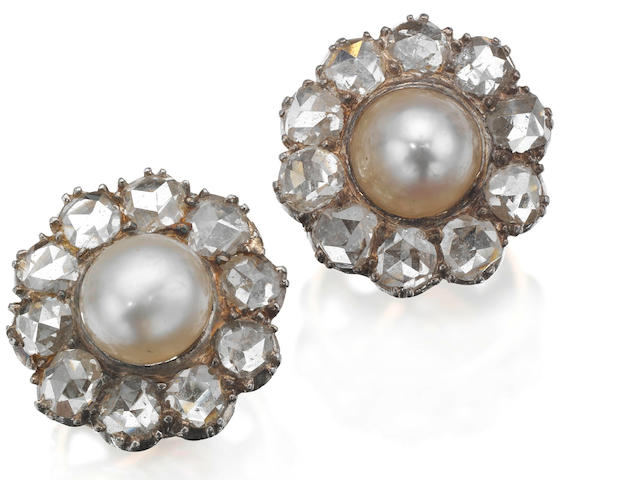 A pair of late 19th century pearl and diamond cluster earrings