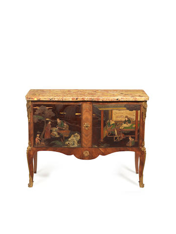 A French late 19th century Transitional style, ormolu-mounted kingwood, satiné and Coromandel lacquer commode