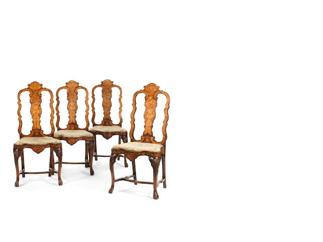 A set of four Dutch 19th century marquetry chairs
