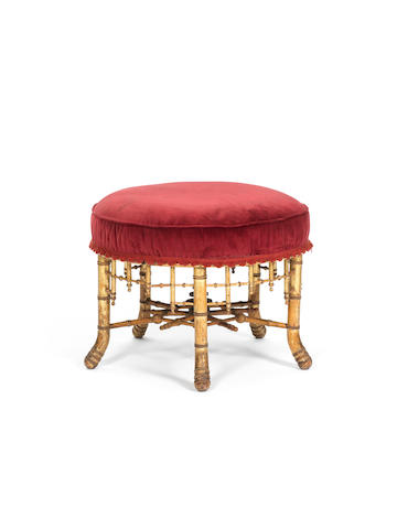 A French late 19th century faux-bambou stool