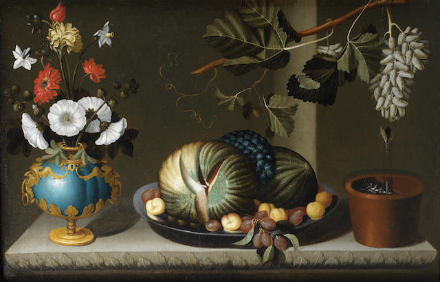 Bernardo Polo (active Zaragoza circa 1650-circa 1675) A vase of flowers with a pewter dish of melons, grapes and apricots and a fruiting grape vine, on a stone table