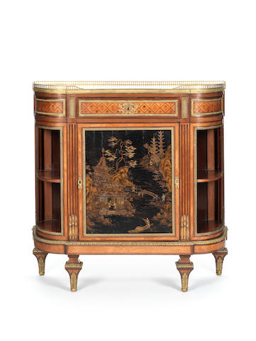 A French late 19th century Louis XVI style Chinese lacquer and ormolu-mounted mahogany, satiné and marquetry demi-lune meuble à hauteur d'appui