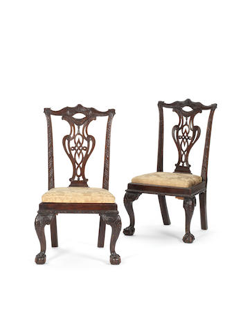 A pair of mahogany carved chairs, England, mid 18th century