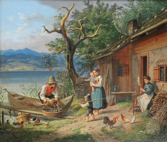 Lorenzo Quaglio (German, 1793-1869) Unloading the catch