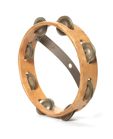 A tambourine used by Mick Jagger during the Rolling Stones' concerts at Longleat House,  2nd/3rd August 1964,
