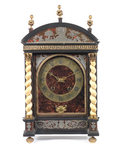 Mantel clock with ivory columns by Balthazar Martinot cm 47 x 30