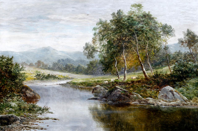 Daniel Sherrin (British, 1868-1940) An open river landscape with trees and hills beyond