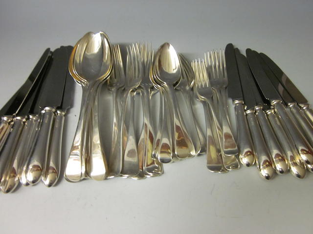 A composite canteen of silver Georgian flatware,  mixed makers,  London 1804 - 1822,