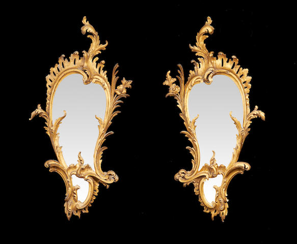 A pair of Irish third quarter 19th century giltwood mirrors