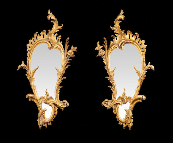 A pair of mid Victorian giltwood mirrors