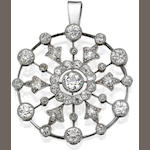 An early 20th century diamond pendant
