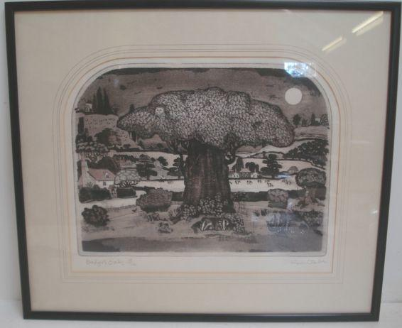 Graham Clarke Badgers Oak artist signed limited edition no. 18/100, 29 x 36.5cm.