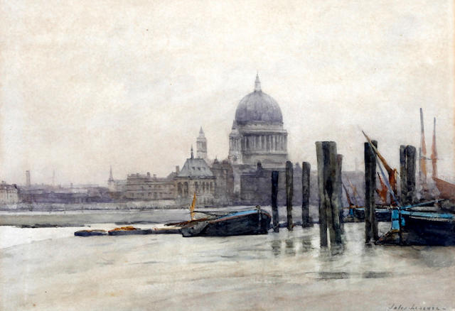 Jules Lessore (French/British, 1849-1892) 'St. Paul's Cathedral and barges'