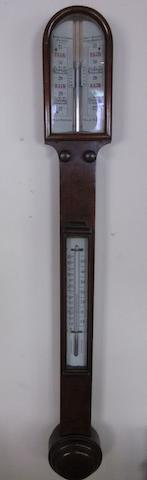 A Victorian mahogany stick barometer by Negretti & Zambra