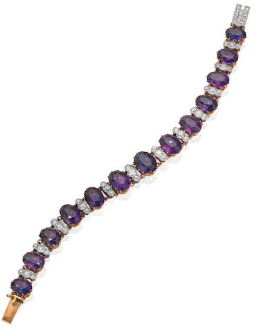 An early 20th century amethyst and diamond bracelet