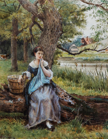 George Goodwin Kilburne, RI, RBA (British, 1839-1924) Maid seated by a tree before a river