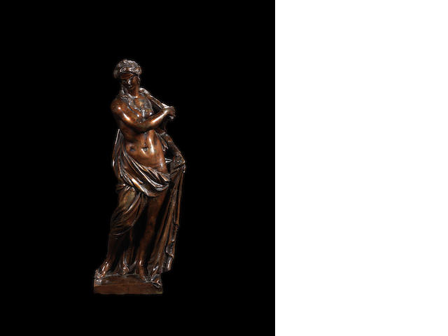 Circle of Michel Anguier, French (born circa 1612-1686) A mid 17th century bronze figure of Venus
