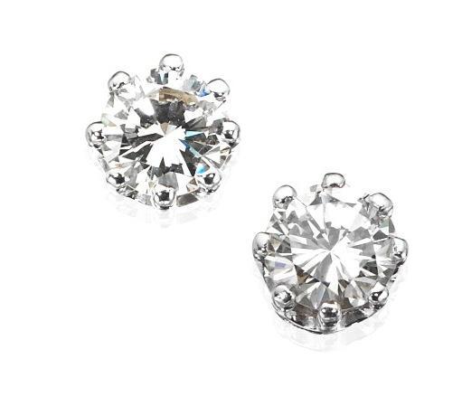 A pair of diamond single-stone earstuds