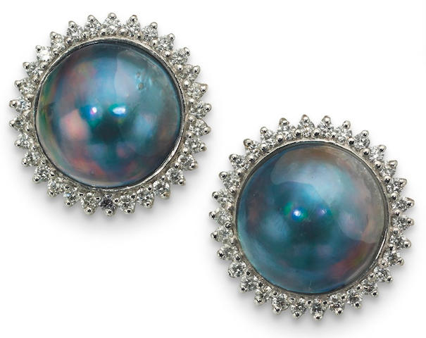 A pair of cultured mabé pearl and diamond earclips