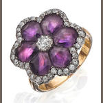 An early 20th century amethyst and diamond cluster ring