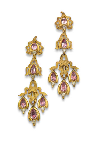 A pair of 19th century pink topaz and chrysoberyl earrings, circa 1840