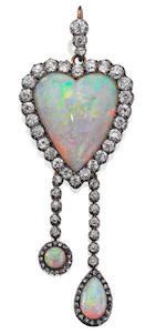 An early 20th century opal and diamond brooch/pendant