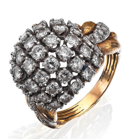 A diamond bombé dress ring