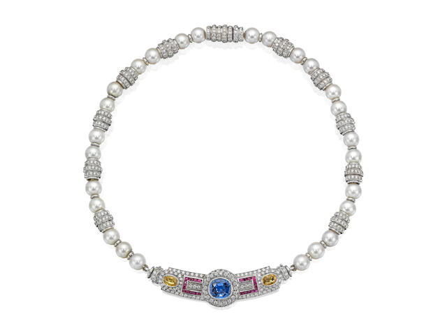 A cultured pearl and gem-set collar necklace