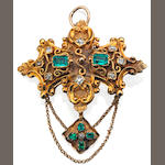 A 19th century emerald and diamond brooch