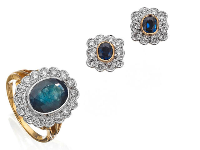 A sapphire and diamond ring and a pair of sapphire and diamond earrings