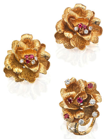 A ruby and diamond ring and earring suite, by Chaumet, 1960s