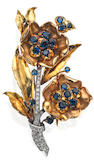 A mid 20th century sapphire and diamond brooch