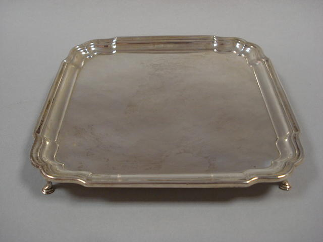 A silver salver by Barker Bothers Silver Ltd Birmingham 1927