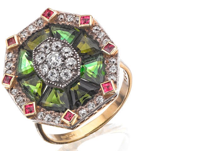 A tourmaline, ruby and diamond dress ring