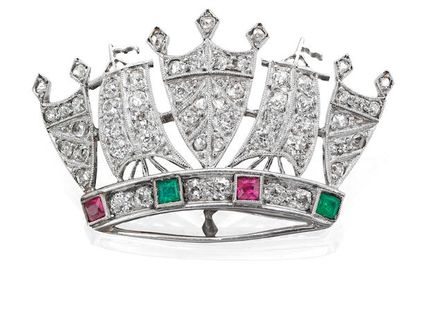 An emerald, ruby and diamond Naval Crown brooch