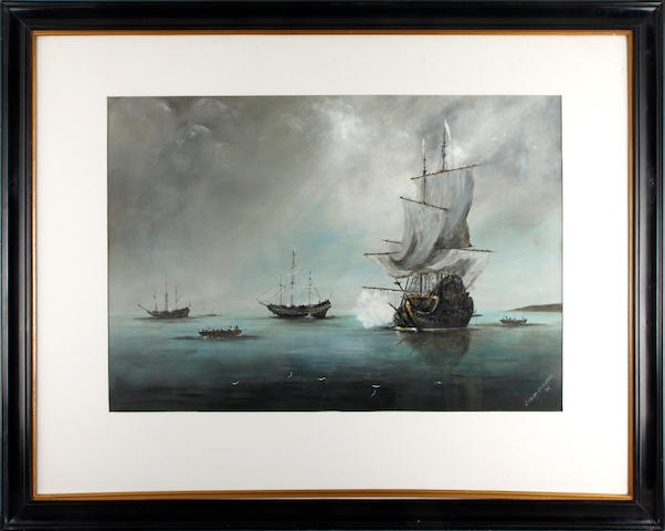 Joseph Luscombe, 20th Century Dutch shipping in Torbay - the landing of William III