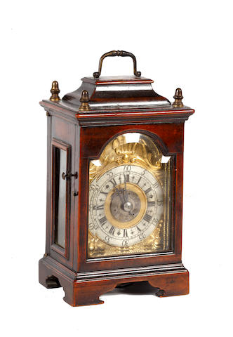 A Continental fruitwood miniature bracket timepiece