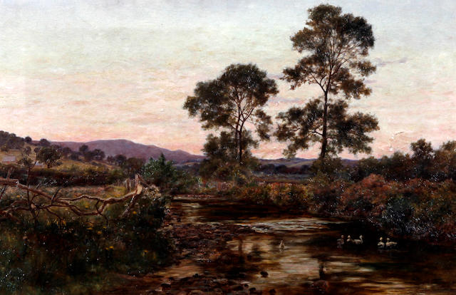 Josiah Clinton Jones (British, 1848-1936) River landscape at sunset