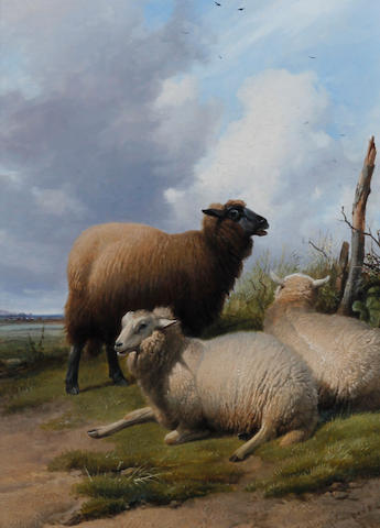 Thomas Sidney Cooper, RA (British, 1803-1902) Three ewes seated on a grassy bank