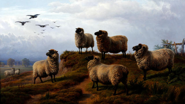 Charles Jones, RCA (British, 1836-1892) Sheep in a landscape