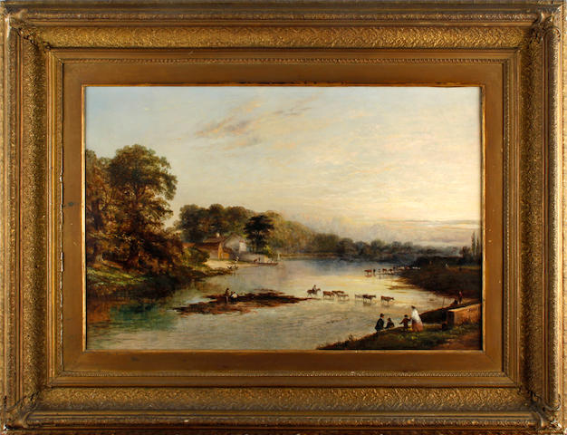 English Shool, 19th Century River landscape, with figures and cattle crossing
