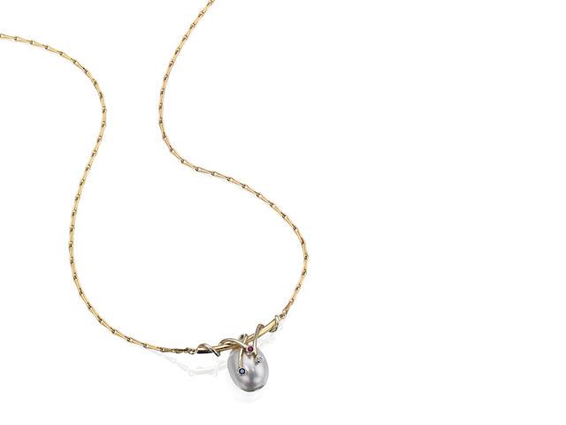 A multi-gem set necklace