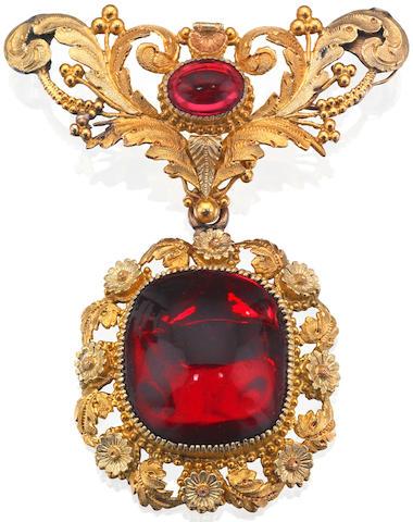 A 19th century garnet brooch, circa 1830