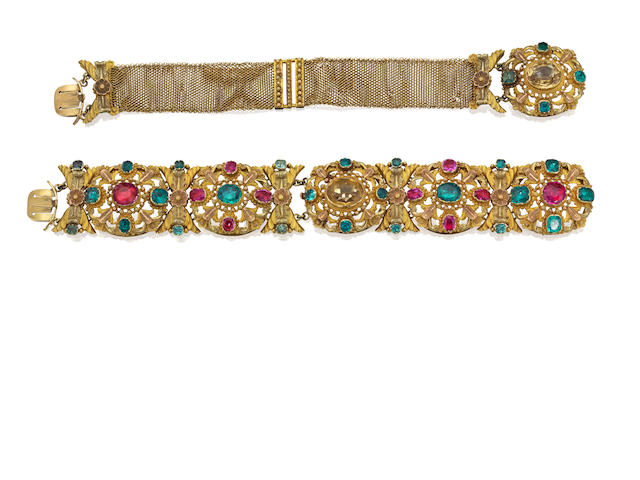 An emerald, ruby and chrysoberyl bracelet/choker suite, circa 1830