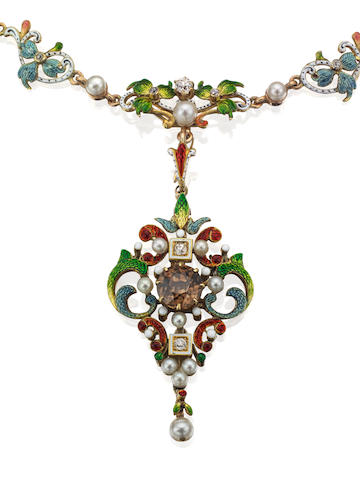 A gold, enamel, seed pearl, zircon and diamond pendant necklace, circa 1890