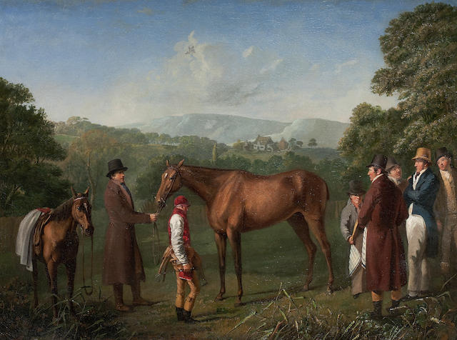 Circle of Jacques-Laurent Agasse (Swiss, 1767-1849) A Bay Racehorse Held by a Trainer